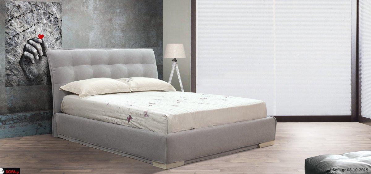 μασίφ υφασμάτινο κρεβάτι με  καπιτονέ και αποσπώμενο ύφασμα