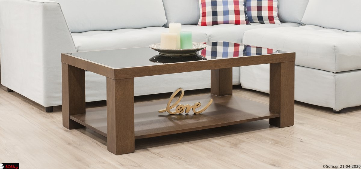 Μοντέρνο τραπεζάκι σαλονιού ξύλινο, με τζάμι στο επάνω μέρος, σε προσιτή τιμή.