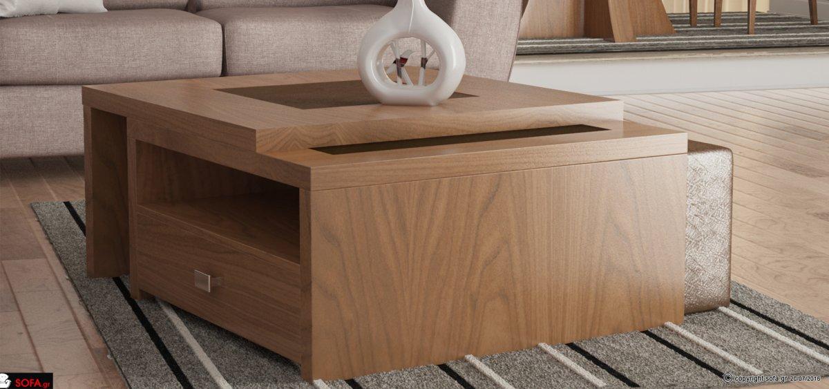 Τραπεζάκι σαλονιού ξύλινο, με τζάμι στο επάνω μέρος και σκαμπώ. Διαθέτει συρτάρι και έχει τη δυνατότητα προέκτασης.
