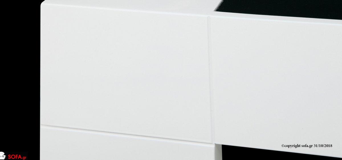 Τραπεζάκι σαλονιού minimal σχεδιασμός με κρύσταλλο μαύρο και λάκα