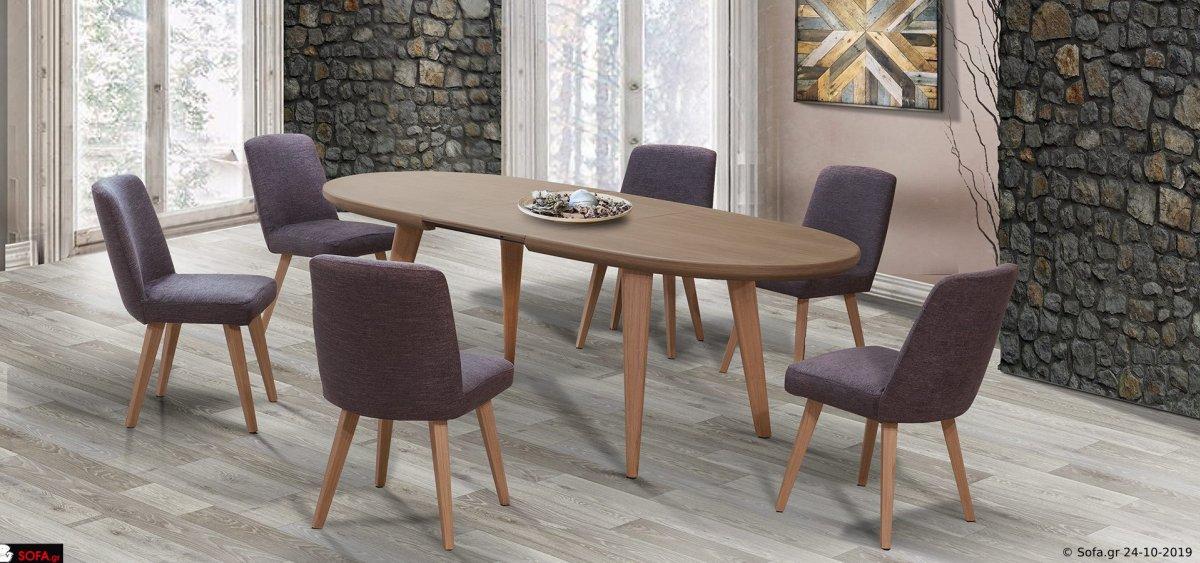 οβάλ τραπέζι με προέκταση και 6 καρέκλες