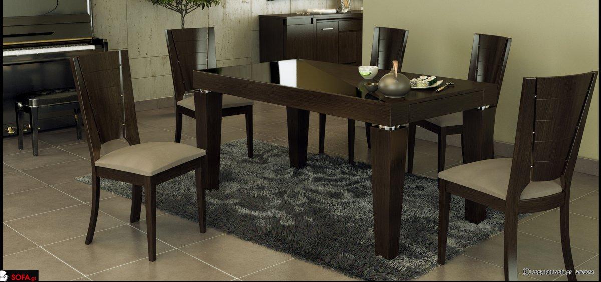 Τραπέζι με ίνοξ λεπτομέρειες και κωνικά ξύλινα πόδια. Καρέκλες τραπεζαρίας από ξύλο, με ανοιχτόχρωμο υφασμάτινο κάθισμα.