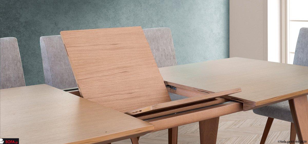 Τραπεζαρία με πόδια από μασίφ οξιά με προέκταση και καρέκλες  με αποσπώμενο ύφασμα