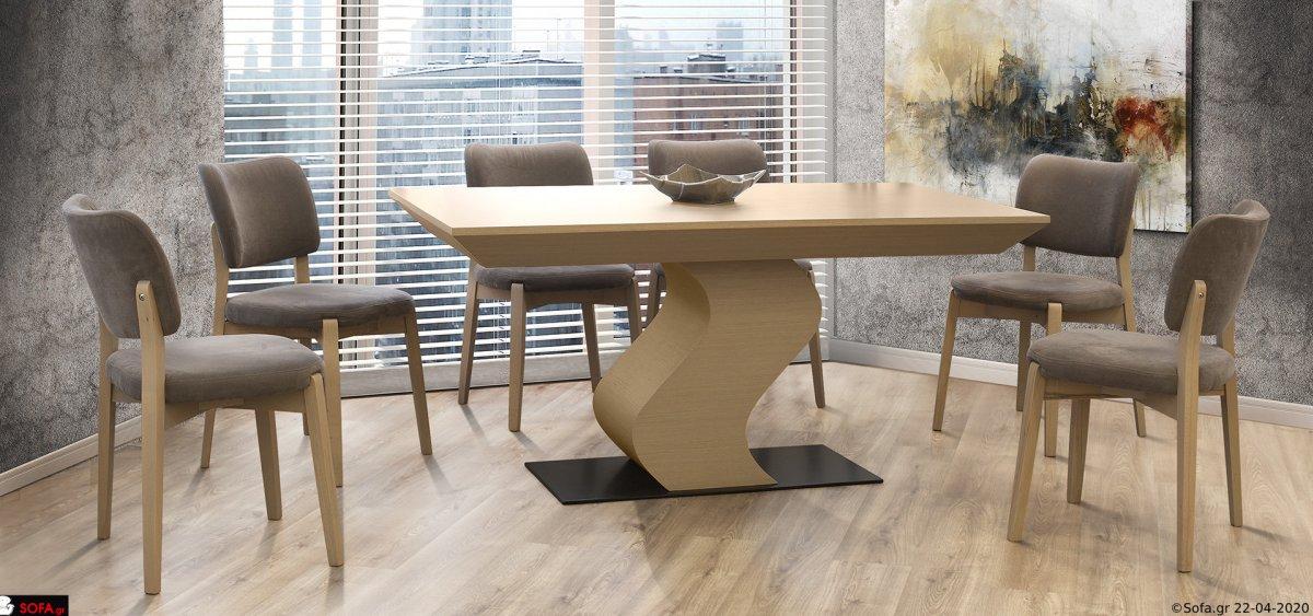 Μοντέρνα τραπεζαρία με βάση S και 4 καρέκλες.