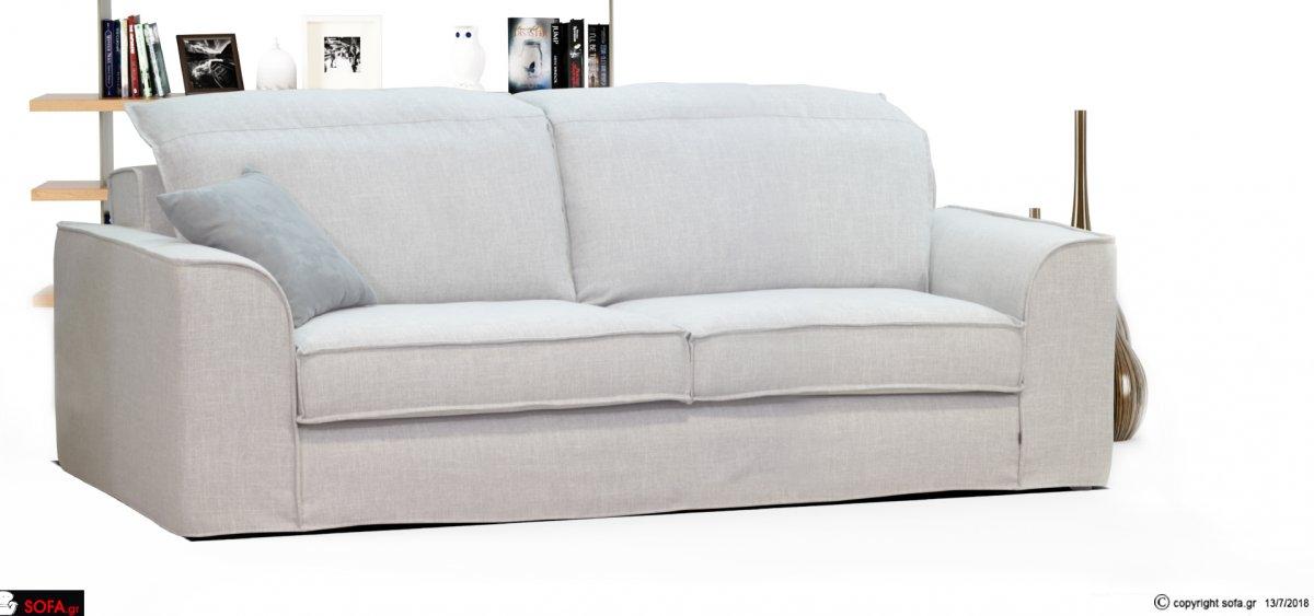 Διθέσιος γκρι καναπές με ανακλίσεις