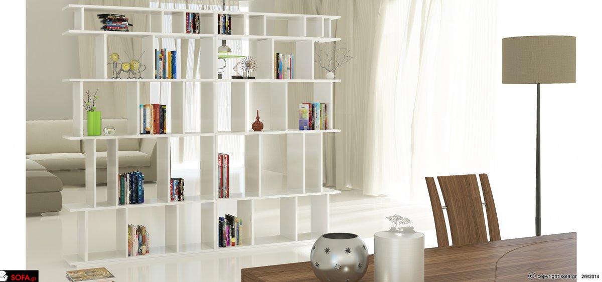 μοντέρνα βιβλιοθήκη σαλονιού σε άσπρη λάκα