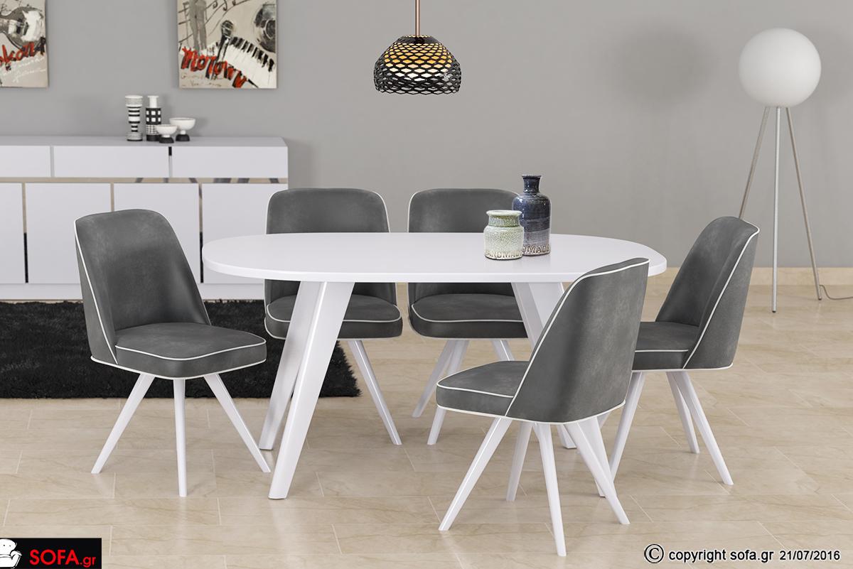 Οβάλ άσπρη τραπεζαρία για μικρούς χώρους και καρέκλες από μασίφ ξύλο οξιάς.