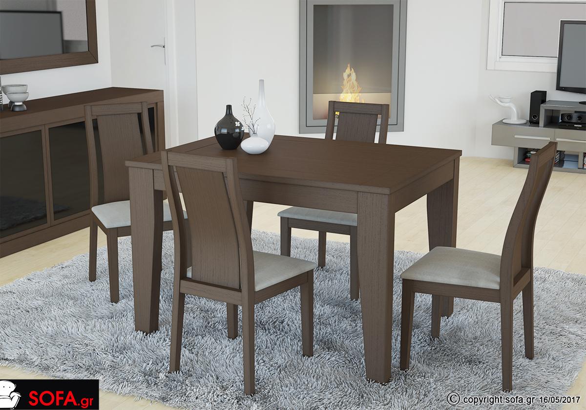 Τραπεζαρία Status Plus από mdf με καπλαμά δρύ και καρέκλα από μασίφ ξύλο οξιάς.